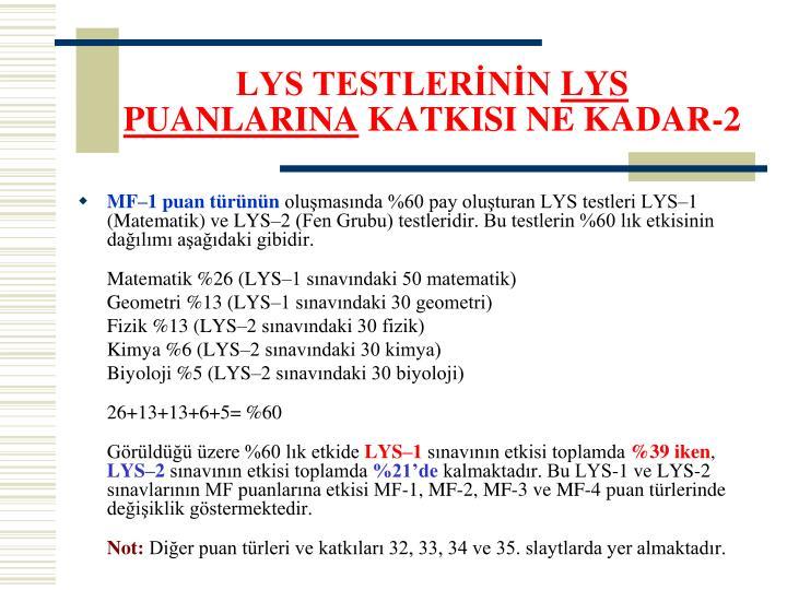 LYS TESTLERİNİN