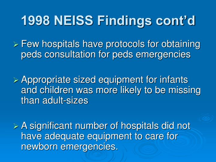1998 NEISS Findings cont'd
