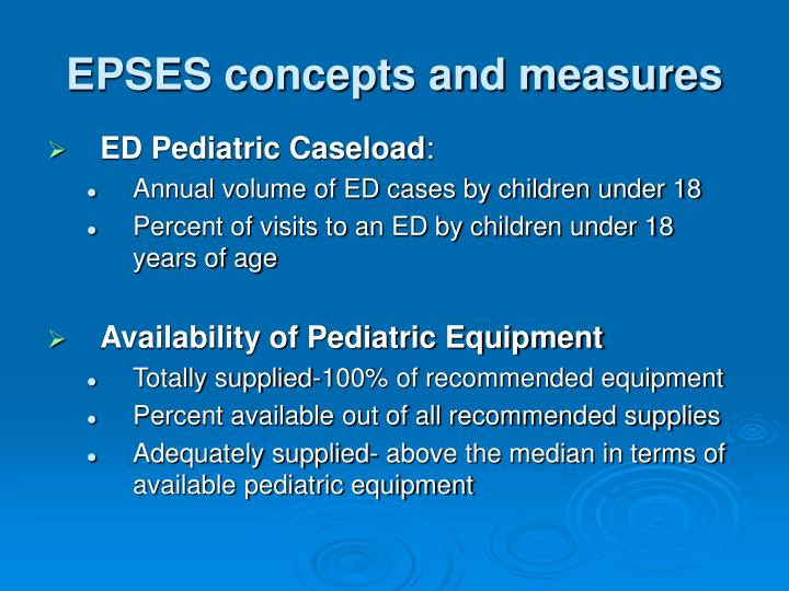 EPSES concepts and measures