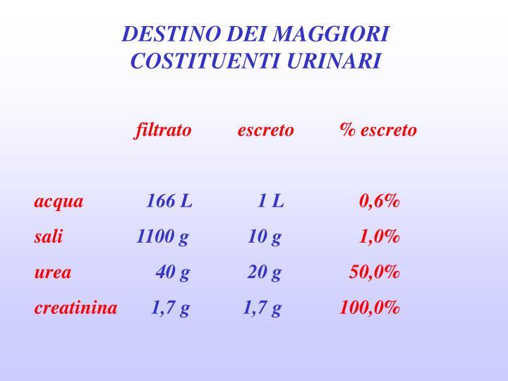 DESTINO DEI MAGGIORI COSTITUENTI URINARI