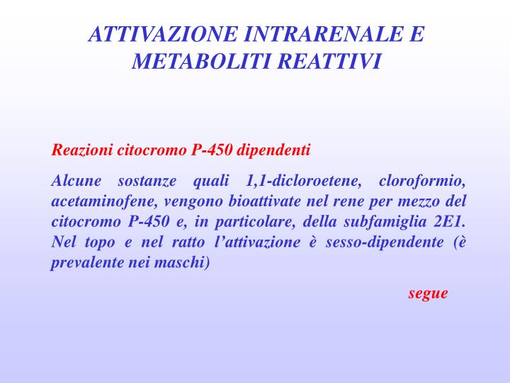 ATTIVAZIONE INTRARENALE E METABOLITI REATTIVI