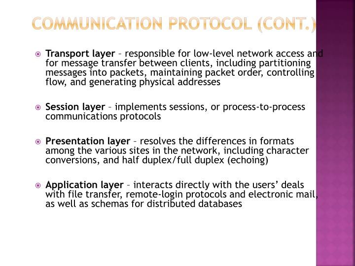 Communication Protocol (Cont.)
