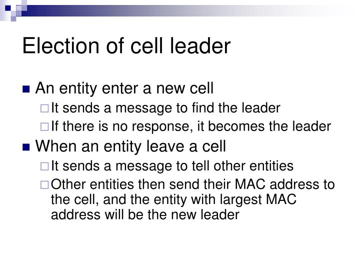 Election of cell leader