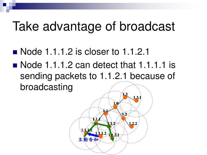 Take advantage of broadcast