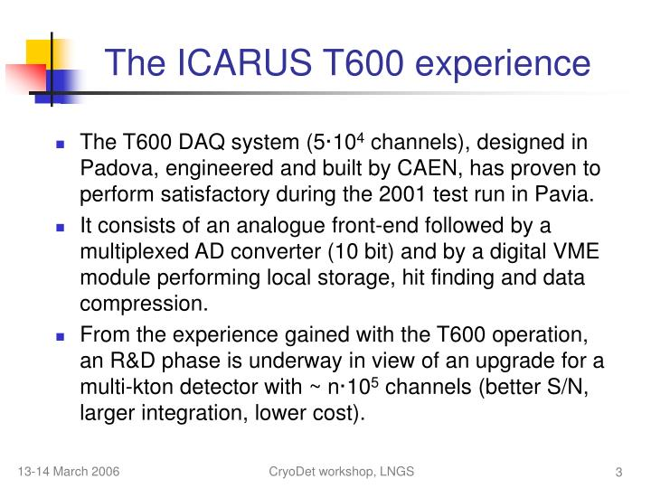 The ICARUS T600 experience