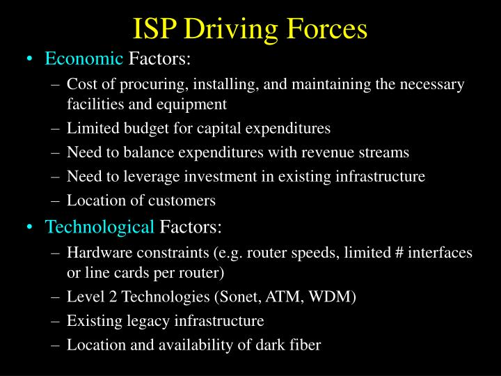 ISP Driving Forces