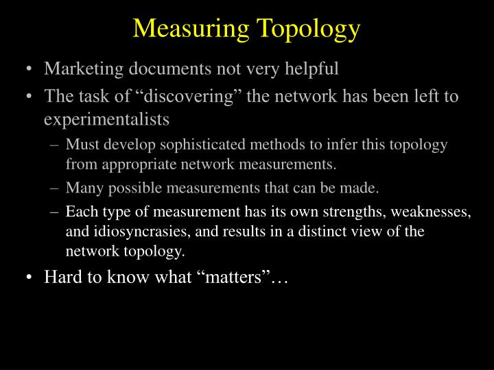Measuring Topology