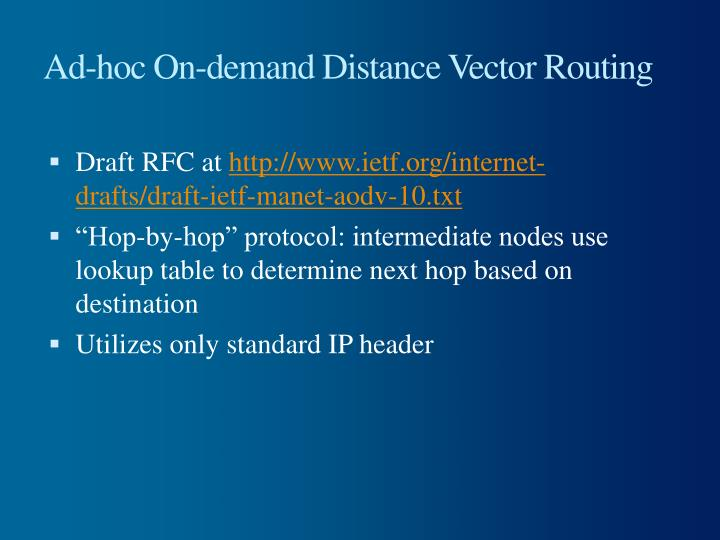Ad-hoc On-demand Distance Vector Routing