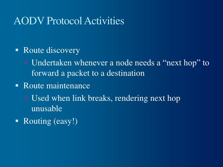 AODV Protocol Activities