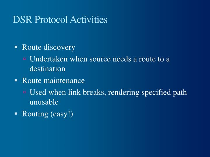 DSR Protocol Activities