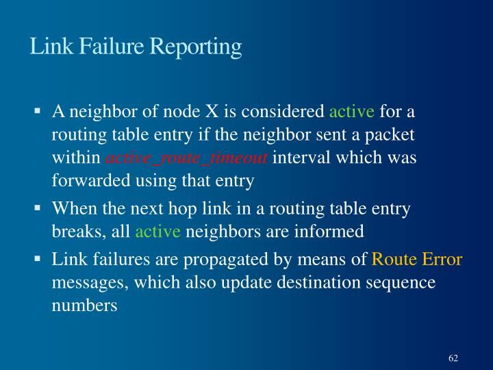Link Failure Reporting