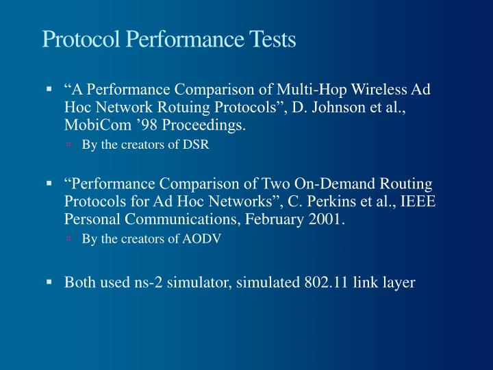 Protocol Performance Tests