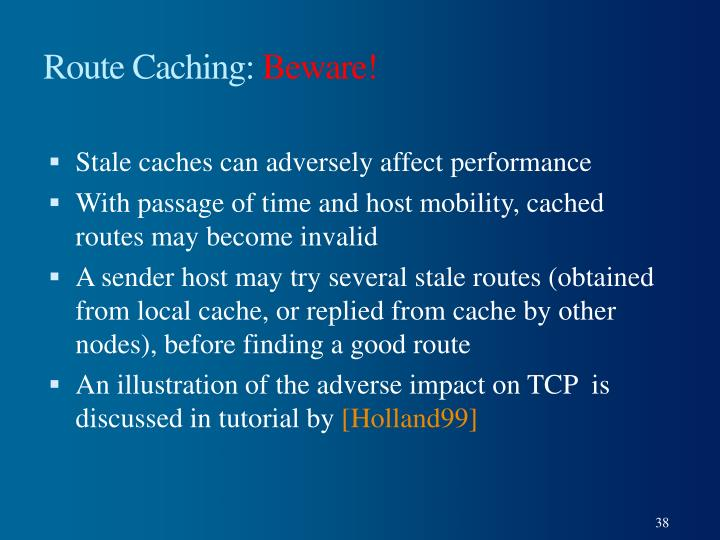 Route Caching: