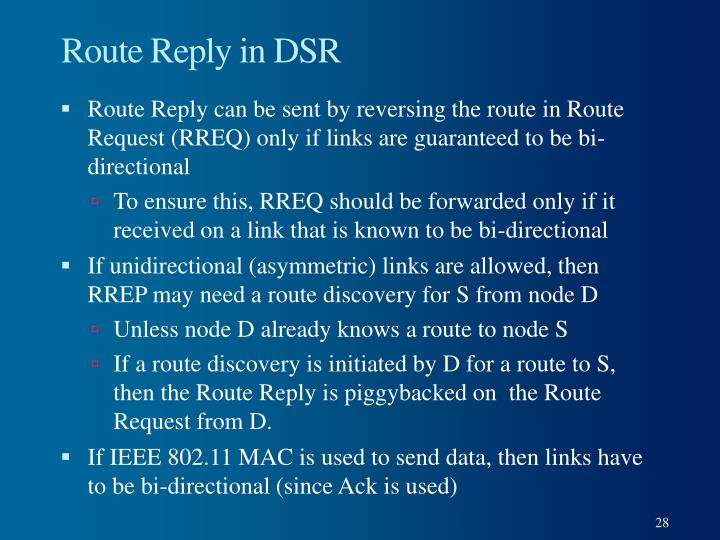 Route Reply in DSR