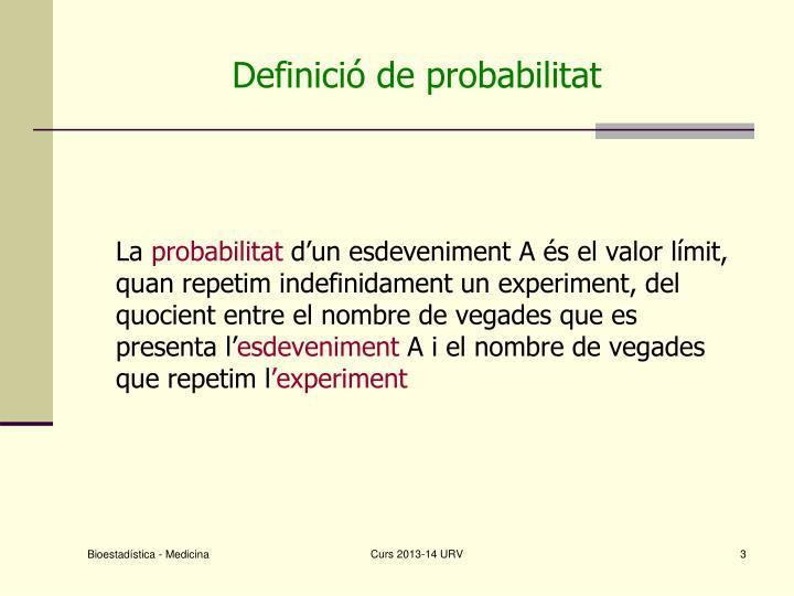 Definició de probabilitat