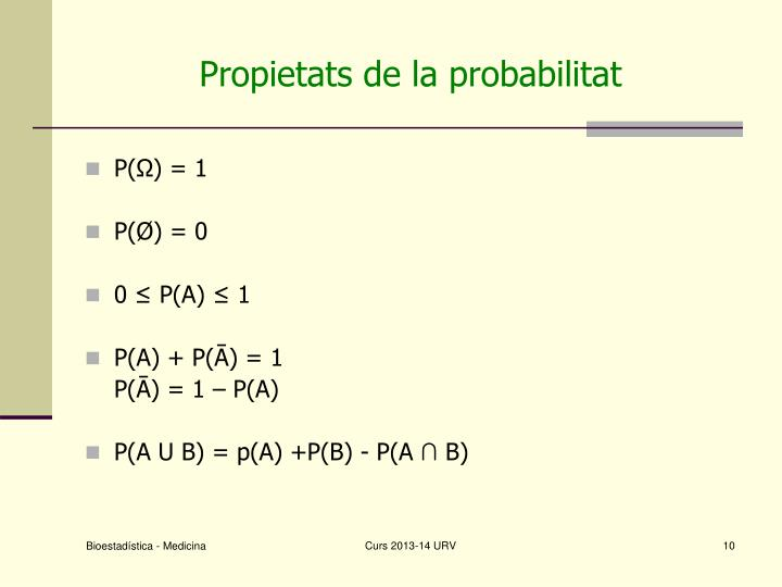 Propietats de la probabilitat