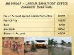 mg nrega labour bank post office account position
