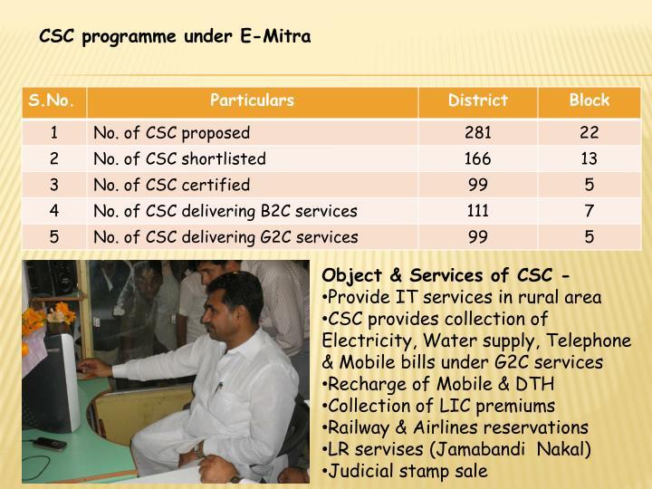 CSC programme under E-Mitra