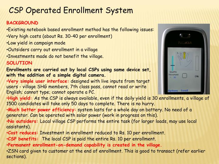 CSP Operated Enrollment System