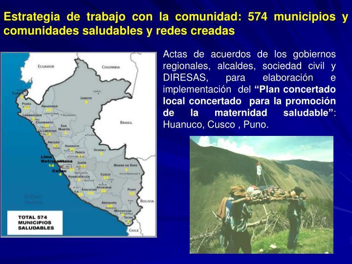 Estrategia de trabajo con la comunidad: 574 municipios y comunidades saludables y redes creadas