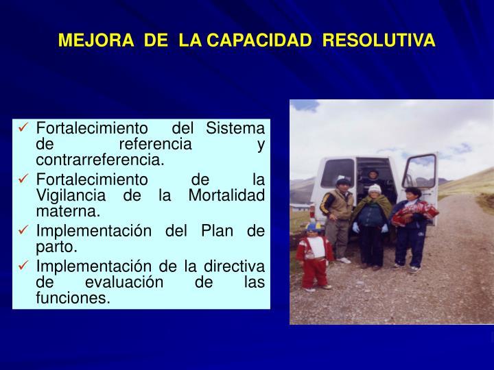 MEJORA  DE  LA CAPACIDAD  RESOLUTIVA