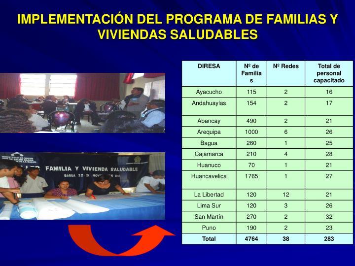 IMPLEMENTACIÓN DEL PROGRAMA DE FAMILIAS Y VIVIENDAS SALUDABLES