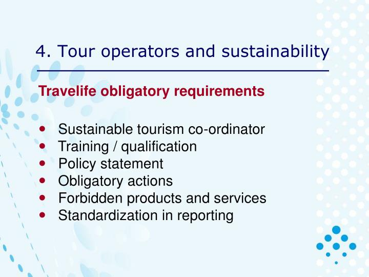 4. Tour operators and sustainability