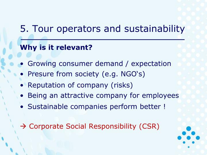 5. Tour operators and sustainability