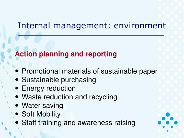Internal management: environment