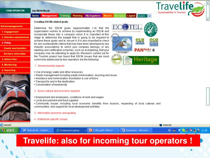 Travelife: also for incoming tour operators !