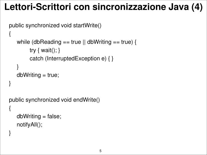 public synchronized void startWrite()