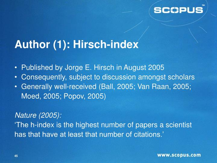 Author (1): Hirsch-index