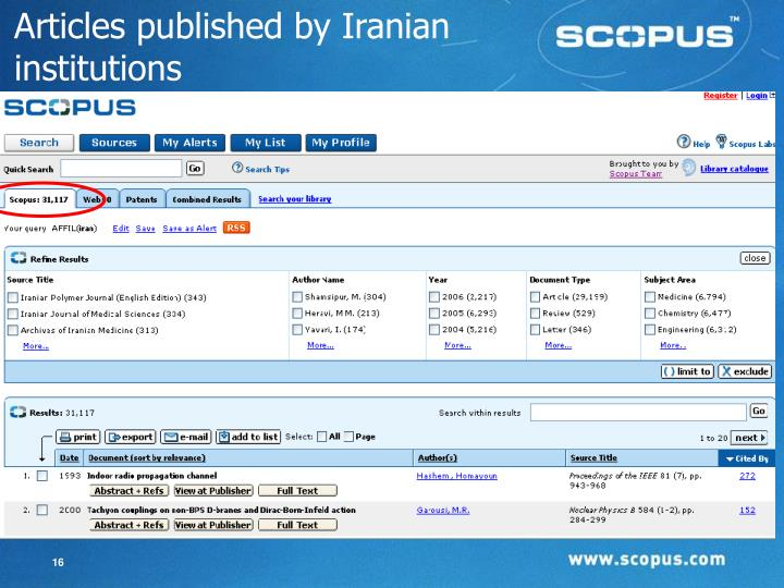 Articles published by Iranian