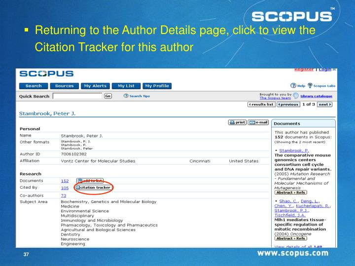 Returning to the Author Details page, click to view the Citation Tracker for this author