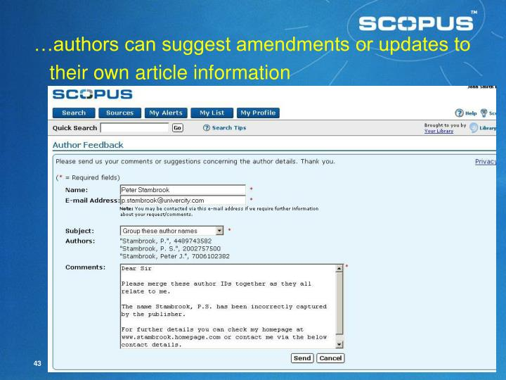 …authors can suggest amendments or updates to their own article information