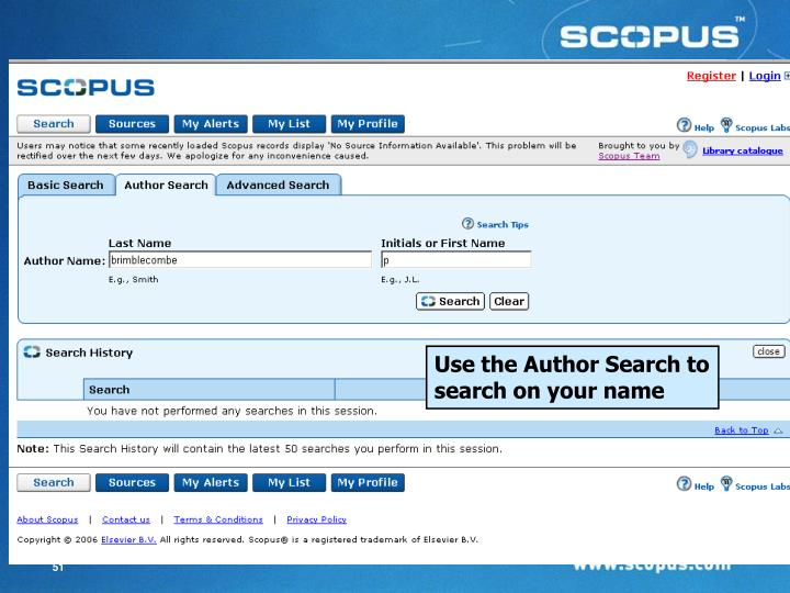 Use the Author Search to search on your name