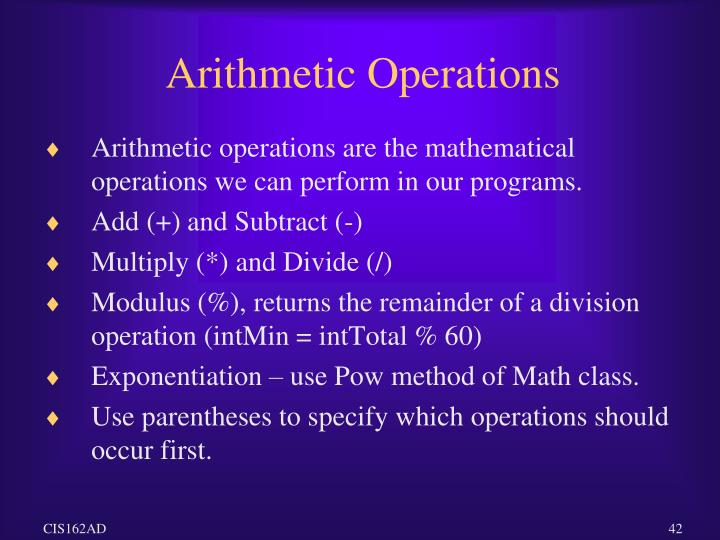 Arithmetic Operations