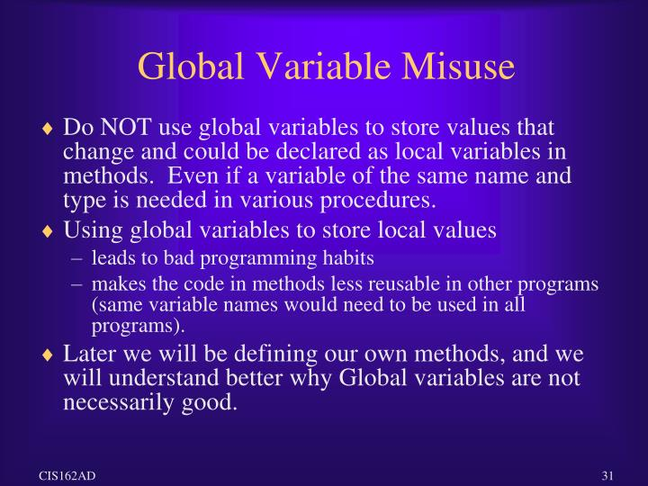 Global Variable Misuse