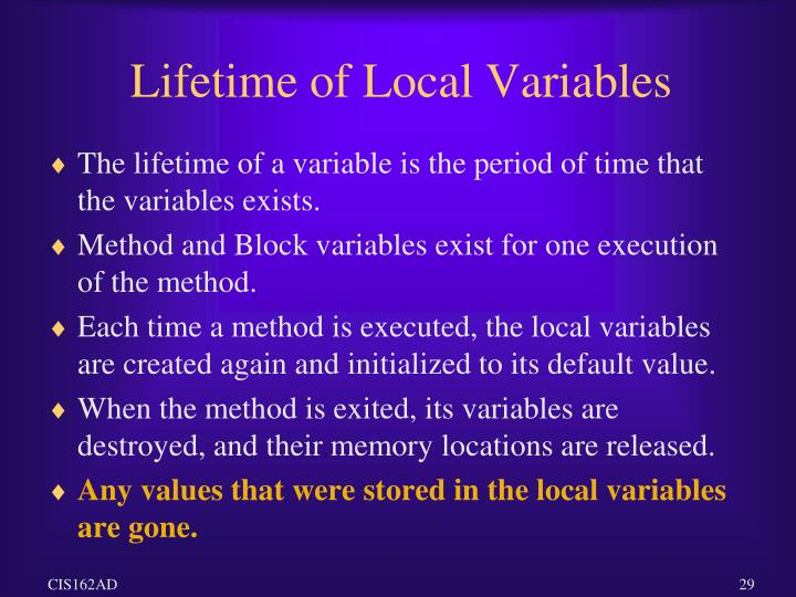 Lifetime of Local Variables