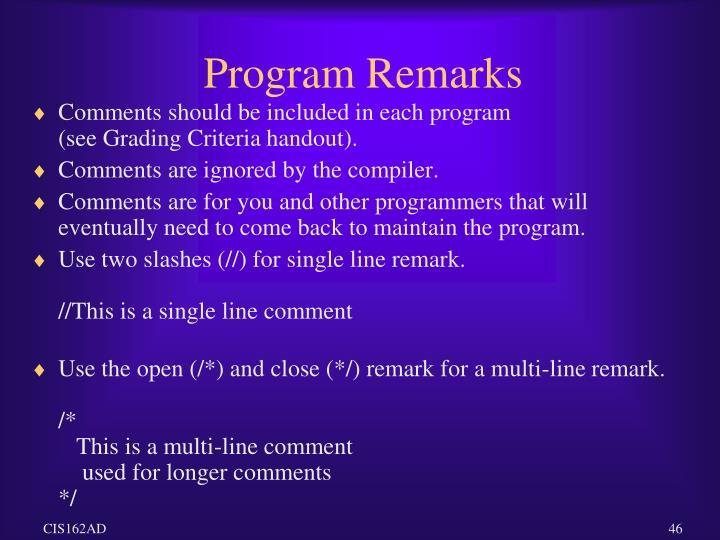 Program Remarks