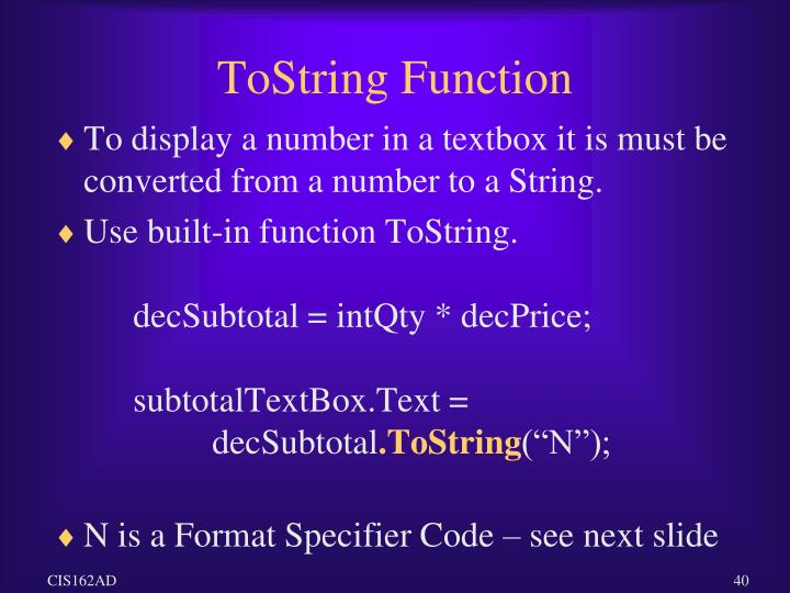 ToString Function