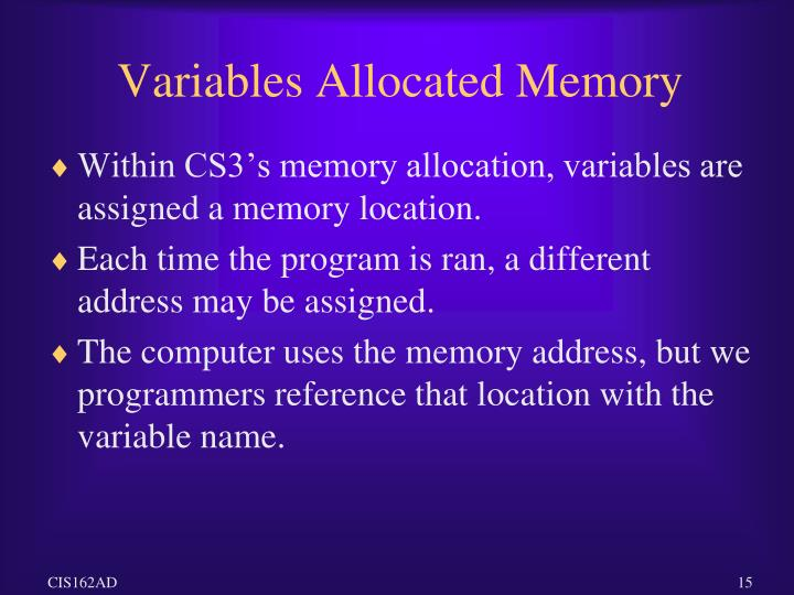 Variables Allocated Memory