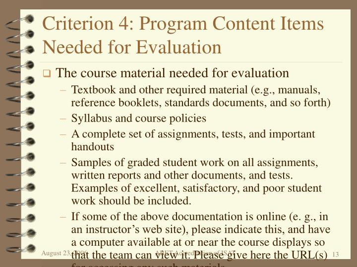 Criterion 4: Program Content Items Needed for Evaluation