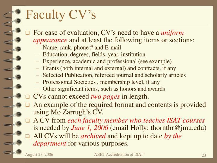 Faculty CV's