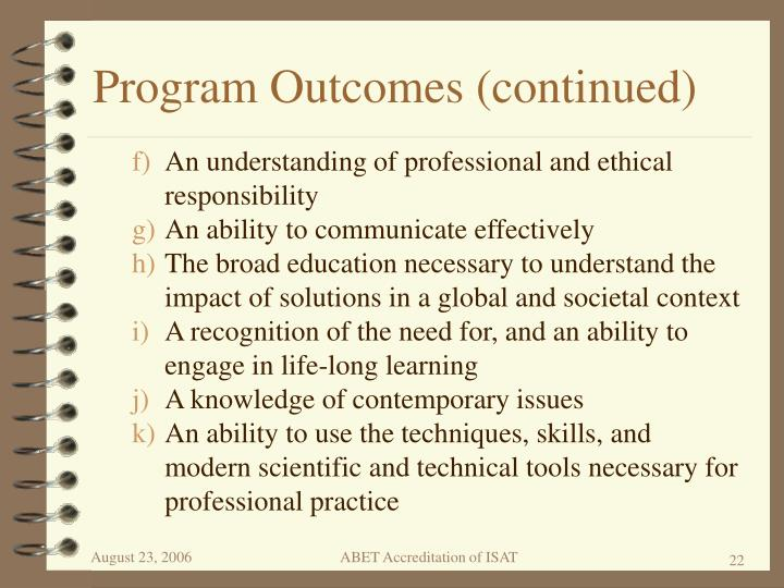 Program Outcomes (continued)