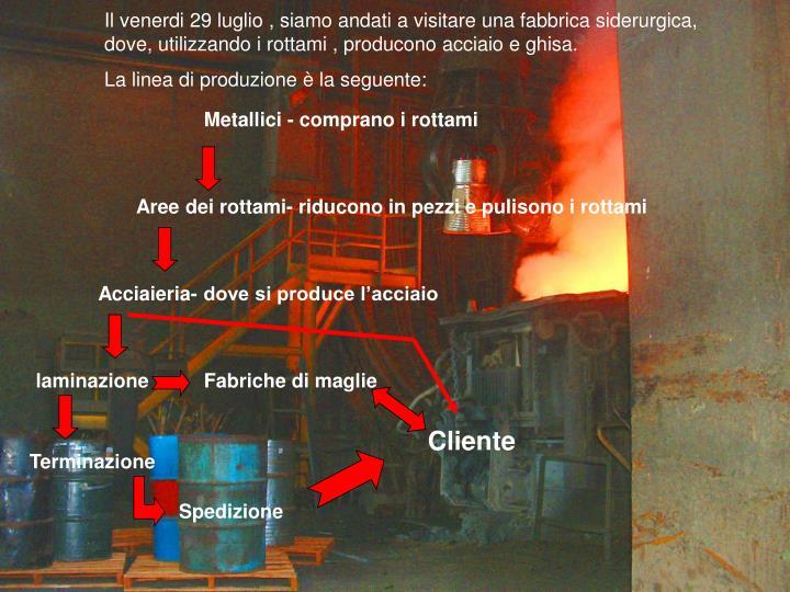 Il venerdi 29 luglio , siamo andati a visitare una fabbrica siderurgica, dove, utilizzando i rottami , producono acciaio e ghisa.