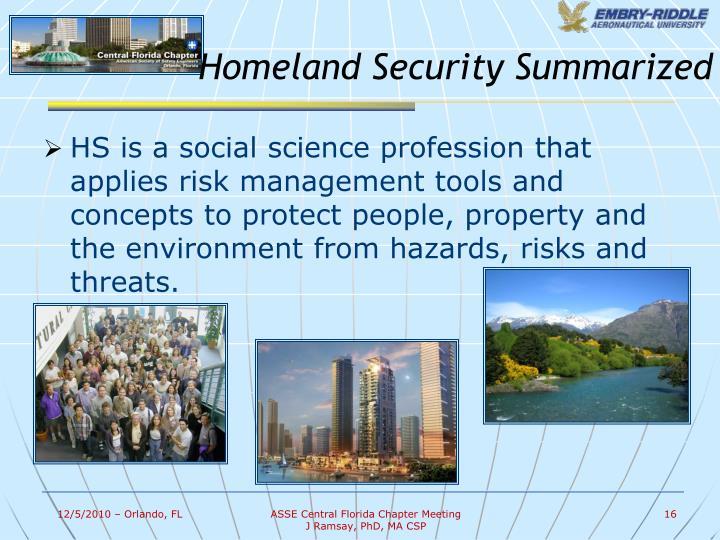 Homeland Security Summarized