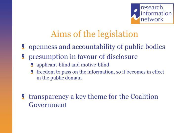 Aims of the legislation