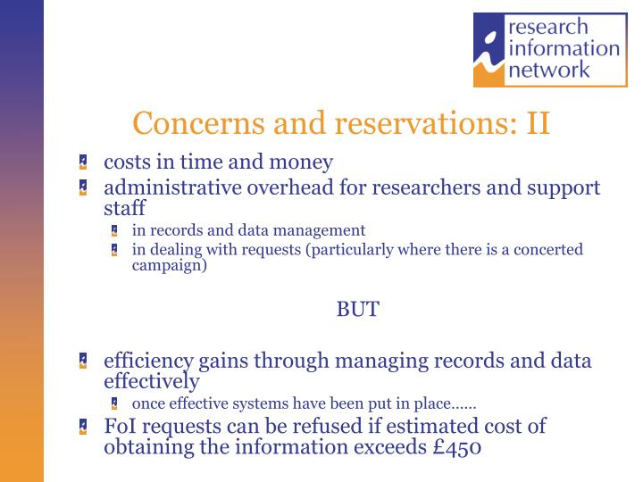 Concerns and reservations: II