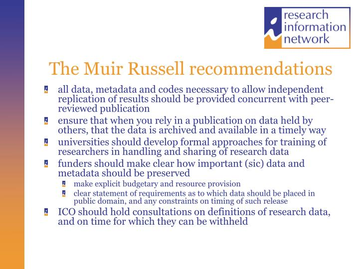 The Muir Russell recommendations